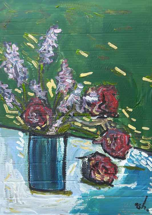 Still life with lavender and roses -