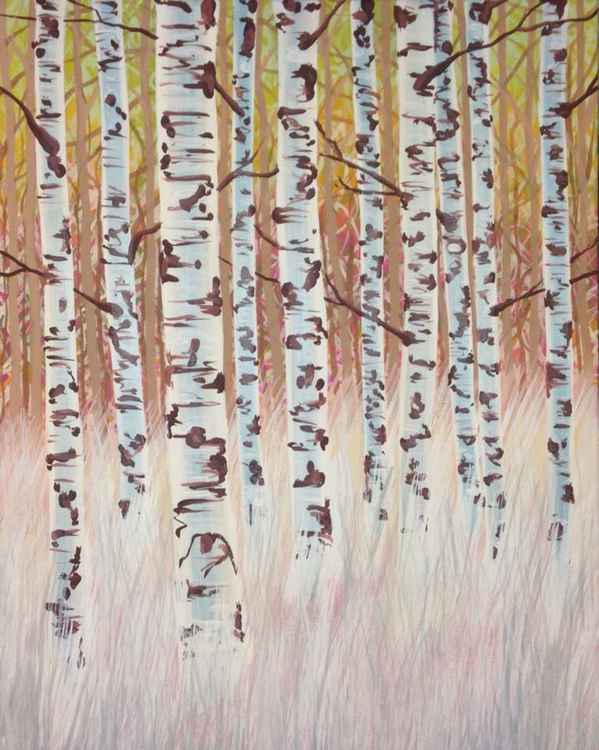 Original Painting of 'Birches in Grass' by Kirstin Wood -