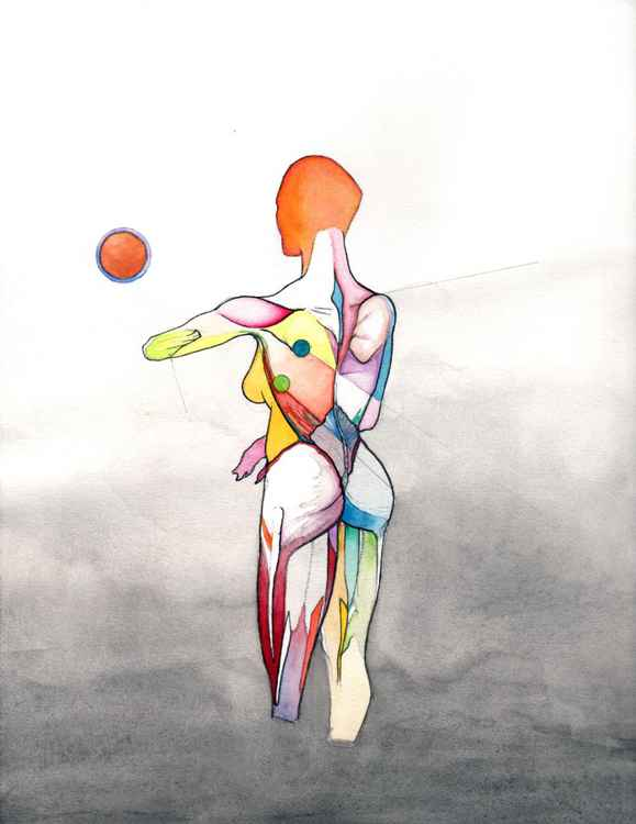 Anatomical Helen, Nude female anatomy drawing, Abstract figure art, Woman sexy watercolor, Surrealist Colorful Figure Drawing, NYC Artist