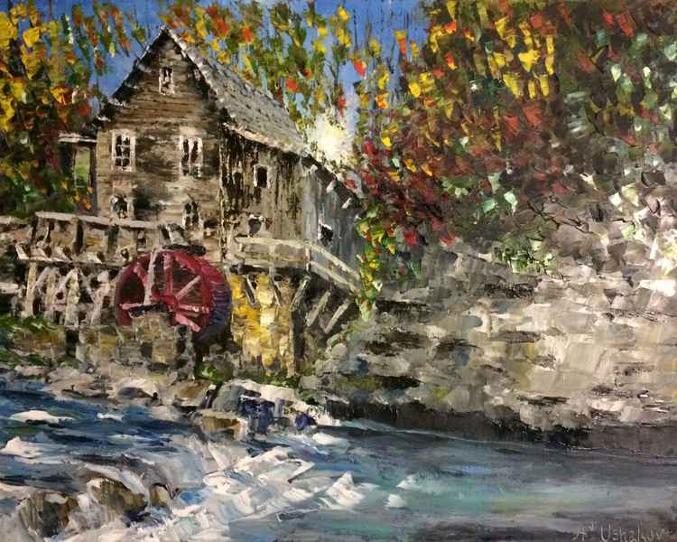 "Mill on the River. Oil painting.(From a series of paintings - ""The Mill"")"