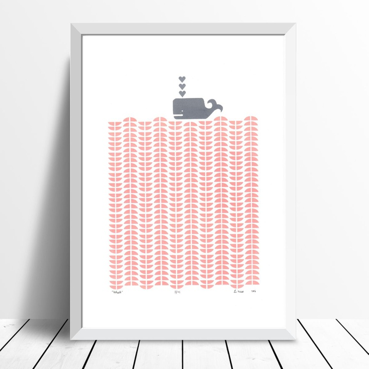 Whale in Rose Blush - Framed - FREE Worldwide Delivery - Image 0
