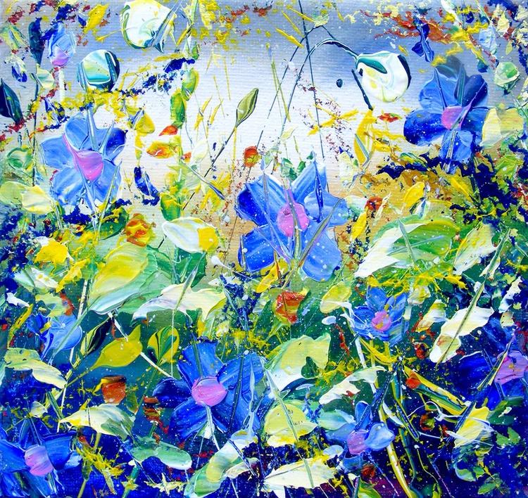 "Floral Paintings - ""Moody Blue"" - Image 0"