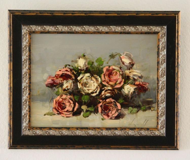 Roses Oil Painting Handmade artwork Framed Ready to hang - Image 0