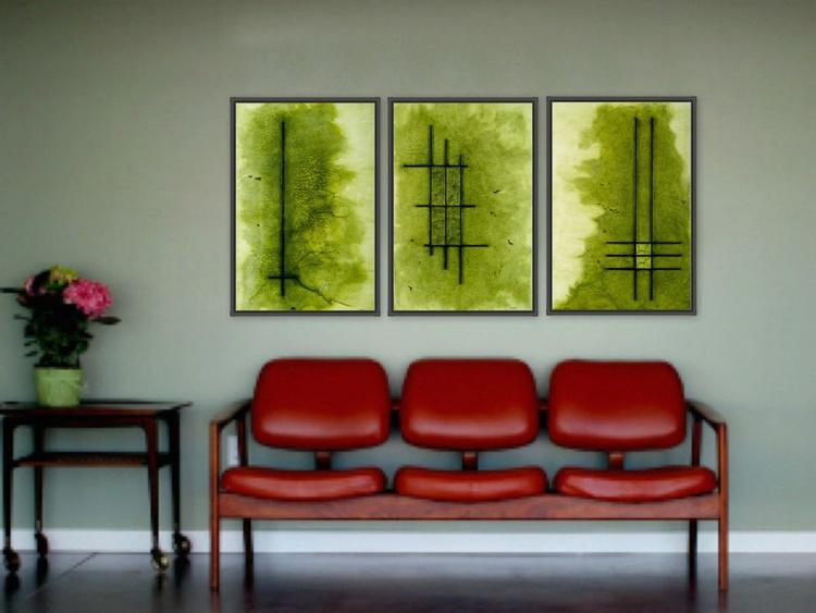 Raku Sap Green Hue Triptych - SOLD - Image 0