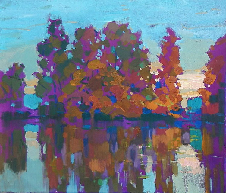 Dawn. Trees by the river, 70x60 cm - Image 0
