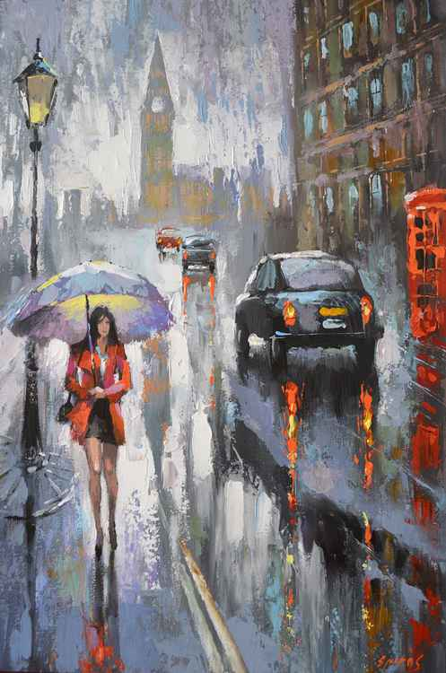 Rainy summer - oil painting by Dmitry Spiros, 2016