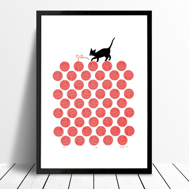 Cat in Cherry Red - Framed - FREE Worldwide Delivery - Image 0