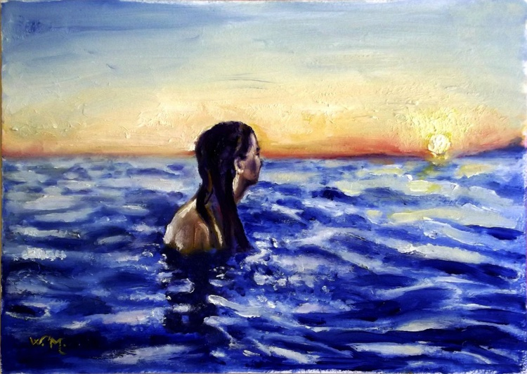 SUMMER MEDITATION BY THE SEA - Seascape painting-30 x 20.5 cm - Image 0