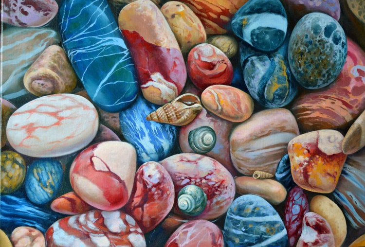 Pebbles on the beach, Original oil on canvas - Image 0