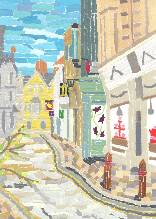 Old Street in Cambridge  (Hand Cut Collage) Original Picture - Image 0