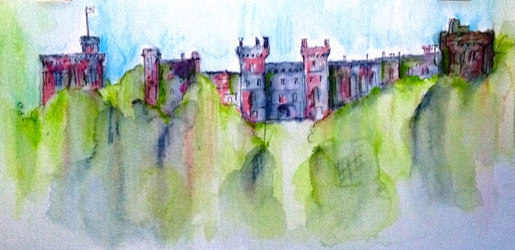 Windsor Castle,  Ink and Watercolour - Image 0