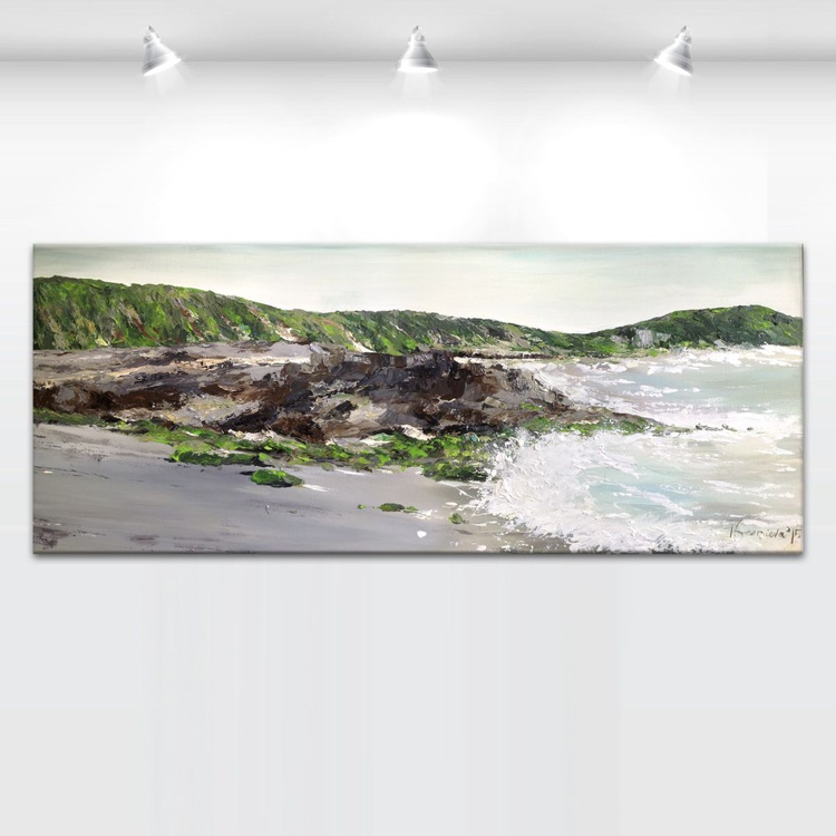 "'We walked on a silver sands' - XXLARGE - 24x60"" - Image 0"