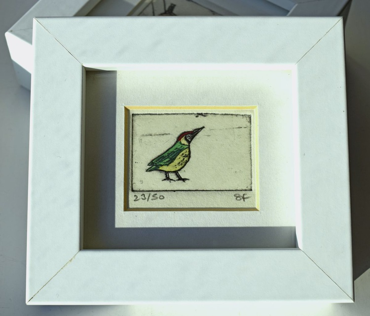 Green woodpecker - mini framed print - Image 0