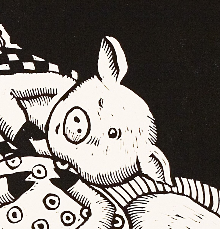 Pigs in Blankets, black and white linocut - Image 0