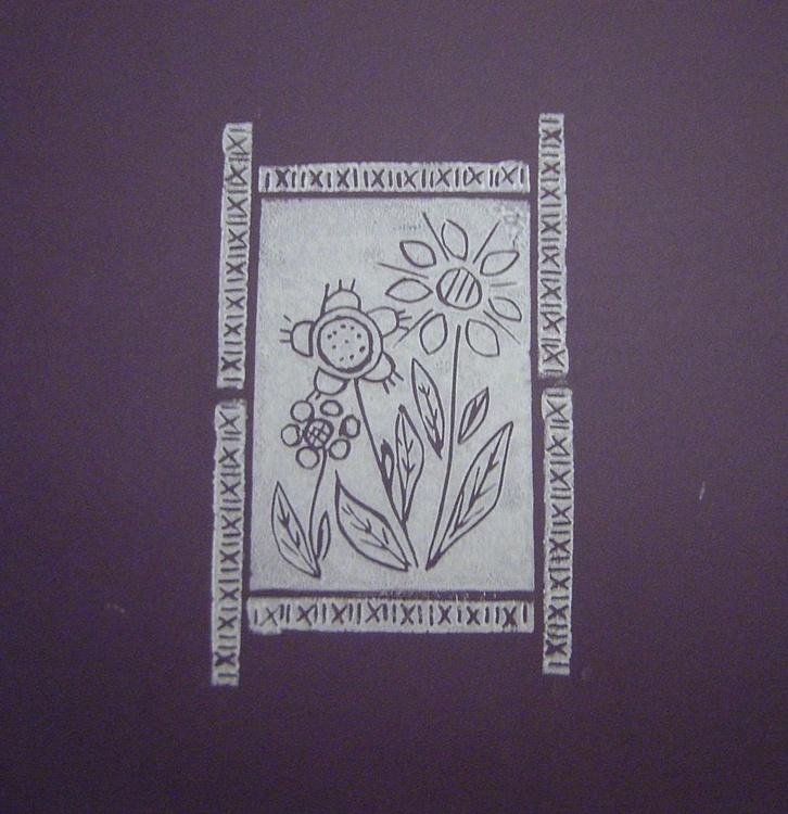 Three flowers with border - Print 3 - Image 0