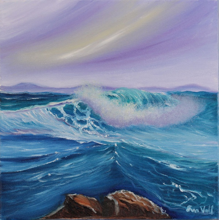 "After the Storm, small seascape oil painting,  original ocean painting 12x12"" - Image 0"