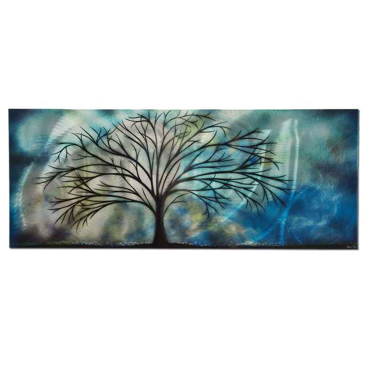 Moonlight Serenade | Moolight Tree Landscape Art, Giclée on Metal
