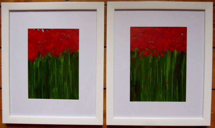 Abstract Poppies - pair of framed paintings - Image 0
