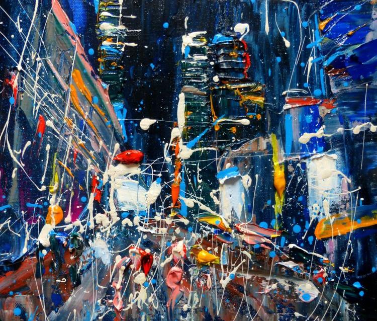 Night city, oil painting 30x25 cm - Image 0