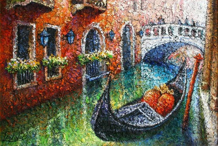 Venice Invitation for a walk, oil on canvas - Image 0