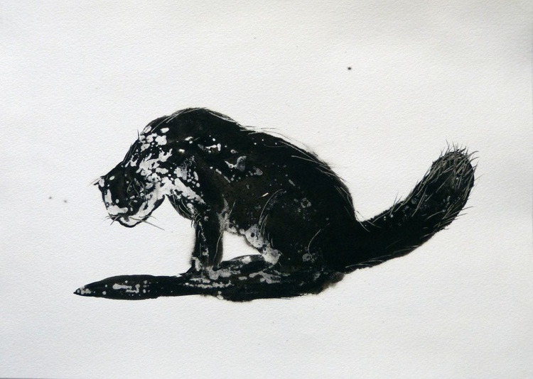 The Black Cat 1, ink drawing 29x42 cm - Image 0
