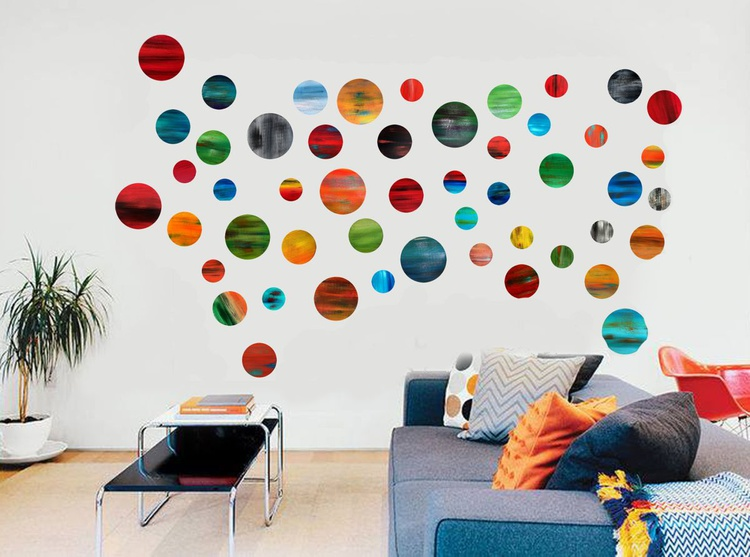 Playing with Circles - Large Abstract Wood Wall Art Sculpture 3D , Original wall instalation - Image 0