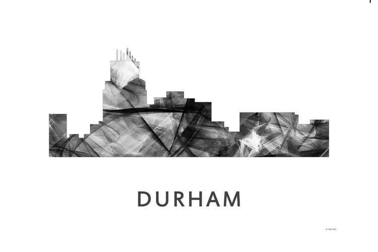 Durham North Carolina Skyline WB BW -
