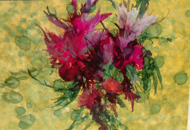 Flowers painted with alcohol inks. - Image 0