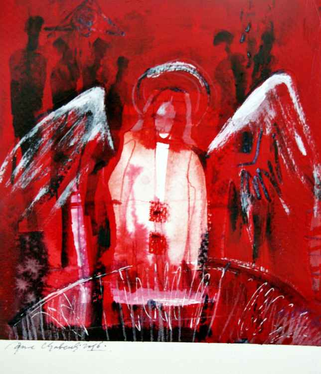 red Gabriel acrylic painting