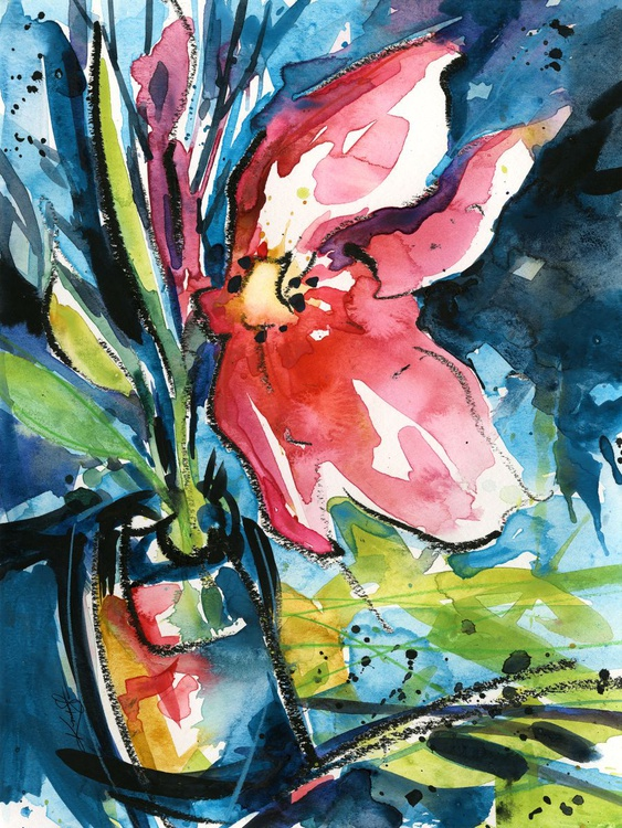 Floral Delight No. 1 - Flower Watercolor Painting - Image 0