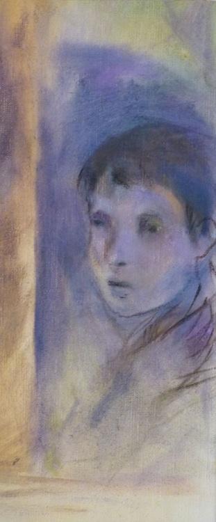 Attentive, oil on canvas 35x15 cm - Image 0