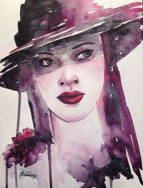 """Reserved for Jack - """"Lady in purple hat"""" - Image 0"""