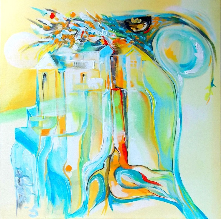 """Our nest"" -  Blue Abstract Painting,  60 x 60 - Image 0"