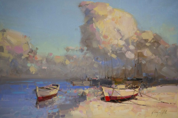 Boats on the Shore Handmade oil Painting One of a Kind Impressionism - Image 0