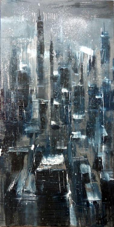 Night City, oil painting 60x120 cm - Image 0
