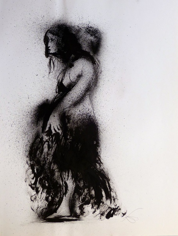 Solitary, ink on paper 65x50 cm - Image 0