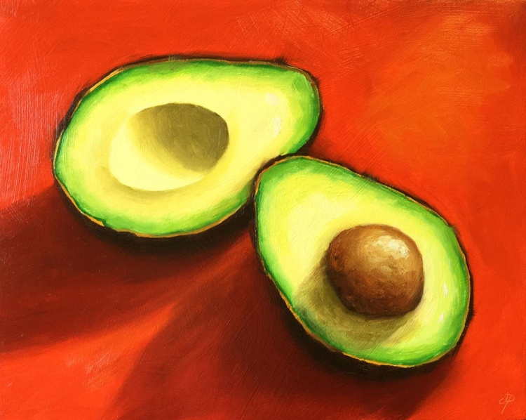 Avocados on Red, ready to hang - Image 0
