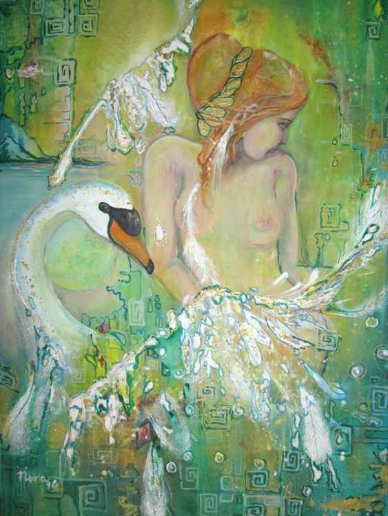 """Leda and the swan"", original acrylic painting, 80x60cm"