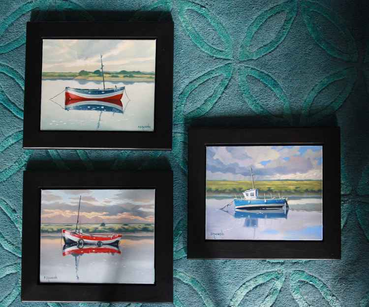 Set of three small boat oil paintings -