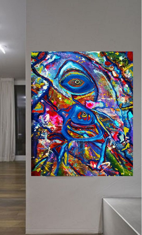 Fish or Human- Picasso Inspired  Large Oil Abstract - Image 0
