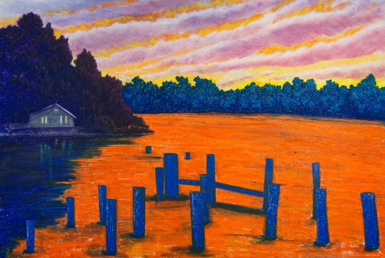 Orange Sunset on Vashon Island with Ocean View, Original Pastel Landscape - Image 0