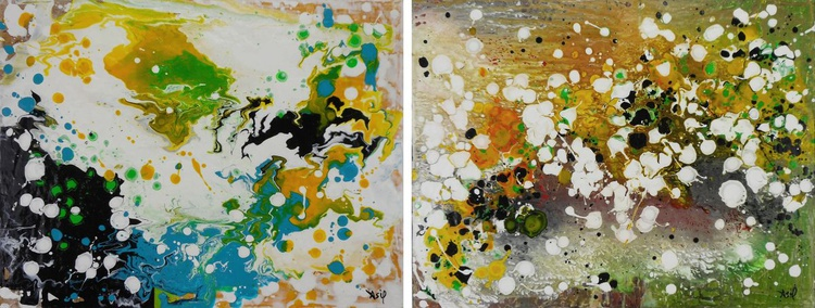 "Set of two abstract paintings - 18x28"" - DIPTYCH - Image 0"
