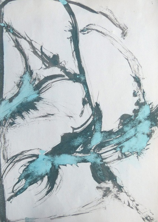 Blue abstract drawing, 29x42 cm - Image 0