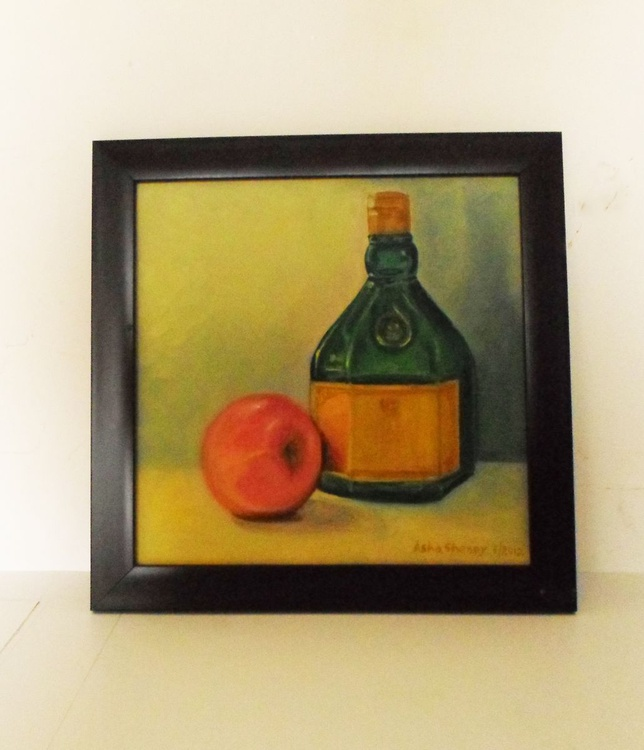 Still life with apple and green bottle - Image 0