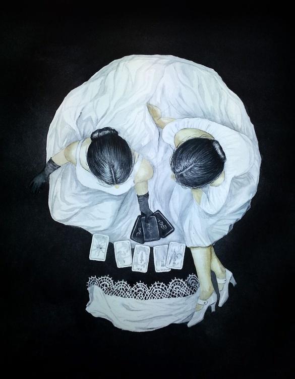 Tarot Reader Girl - Optical Illusion Skull Portrait - Halloween - Image 0