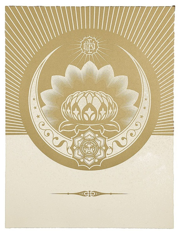 'Obey Lotus Crescent (White & Gold)' - Image 0