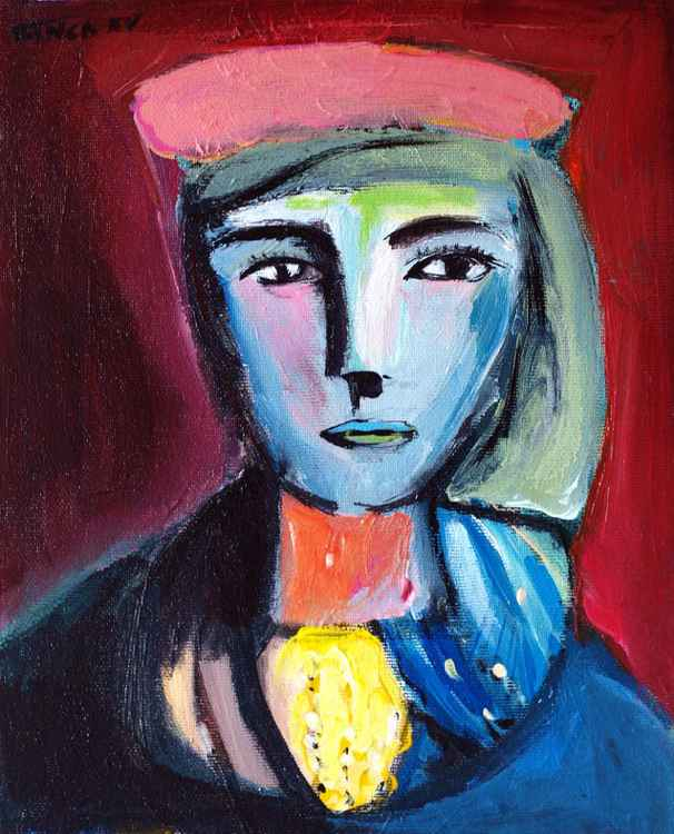 woman with pink beret (inspired by Picasso)