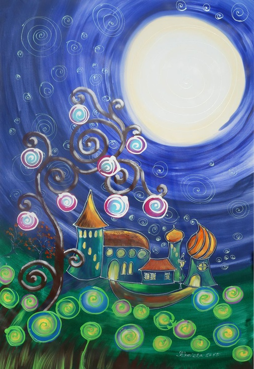 Enchanted fairy tale night moon moonlight Tree of life Large abstract painting 110x160 cm unstretched canvas art by artist Ksavera - Image 0
