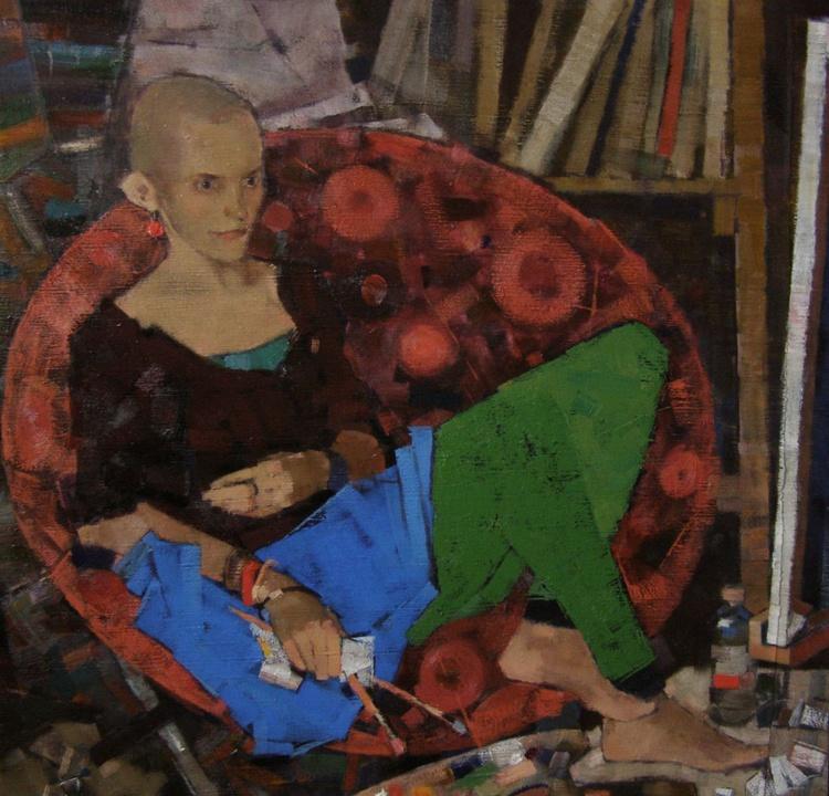 """""""Portrait of Vika"""". Oil on canvas. 110/110 cm - Image 0"""
