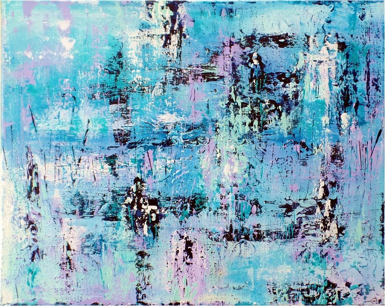 Mood #1  ABSTRACT PAINTING IN TURQUOISE, AQUA, LILAC, INDIGO AND WHITE - Image 0